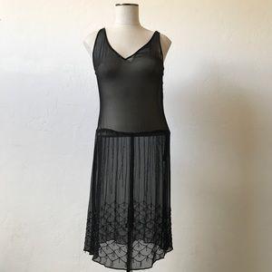 VINTAGE Totally Sheer Beaded Flapper Dress